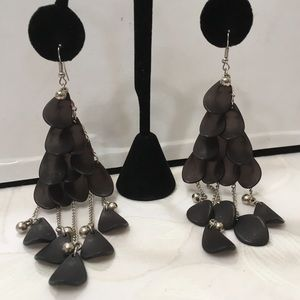 Vintage Silver And Black Chandelier Earrings